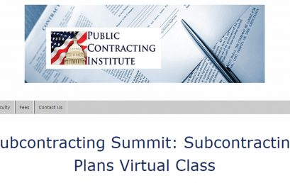 Subcontracting Summit: Subcontracting Plans Virtual Class